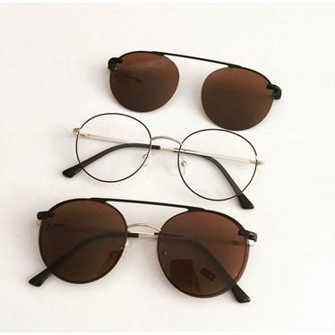 Armação de óculos de grau - Sirena 3050 - Marrom com dourado lente marrom C3
