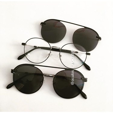 Armação de óculos de grau - Sirena - Preto com prata