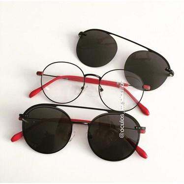 Armação de óculos de grau - Sirena - Preto com vermelho