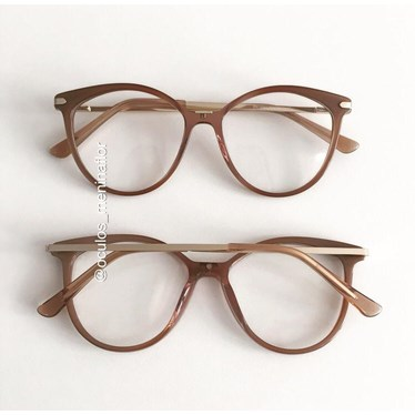 Armação de óculos de grau - Tati - Dourado escuro transparente