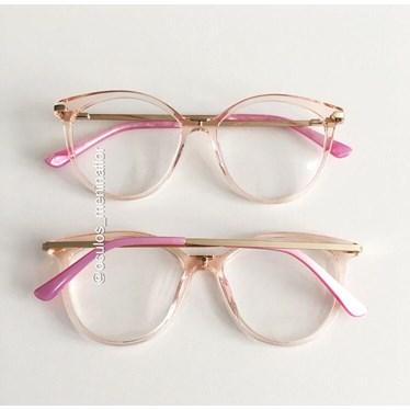 Armação de óculos de grau - Tati - Rose transparência