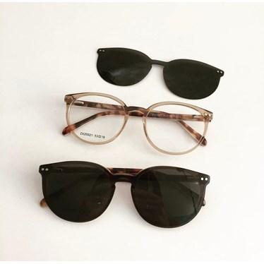 Armação de óculos de grau - Virginia 25021 - Dourado transparência C3