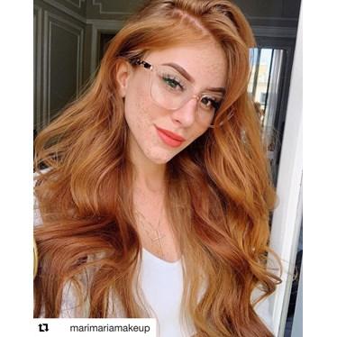 Armação de óculos de grau - Vivian - Dourado transparente