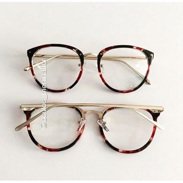 Armação de óculos de grau - X807 - Floral preto com vermelho