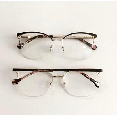 Armação para óculos de grau - Bárbara 6833 - Marrom Haste Animal Print C3