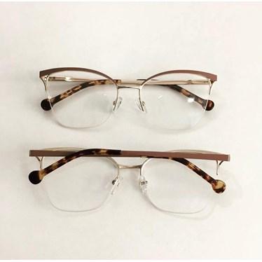 Armação para óculos de grau - Bárbara 6833 - Nude Haste Animal Print C5