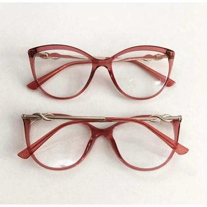 Armação para óculos de grau - Linda 7042 - Rosa Transparência C9