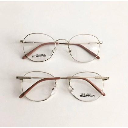 Armação para óculos de grau - Round Wave Titanium -  Dourado Claro C6