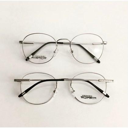 Armação para óculos de grau - Round Wave Titanium -  Prata C3