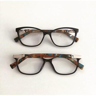 Armação para óculos de grau - Vitória 3694 - Azul Escuro Haste Animal Print Azulado