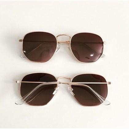 Óculos de Sol - Itália Hexagonal - Dourado lente degrade C3