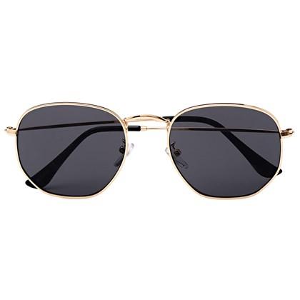 Óculos de Sol - Itália Hexagonal - Dourado lente preta