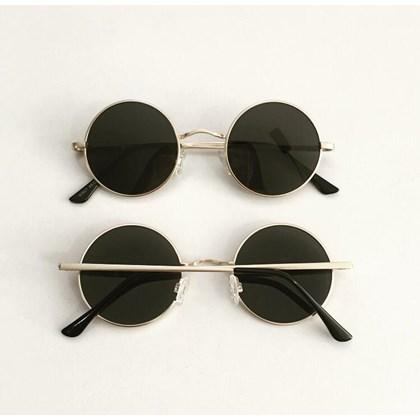 Óculos de sol - John redondinho - Dourada lente preta