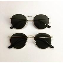 Óculos de sol - Round Clube - Dourado Lente Preta C7