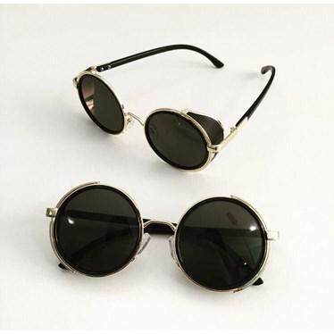 Óculos de sol - Round Willy - Preto com dourado